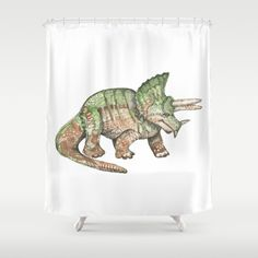 Green and Brown Triceratops Dinosaur  Shower Curtain