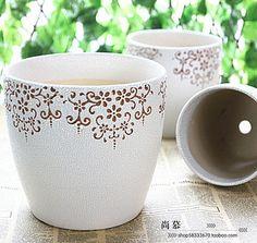 Beige classical decorative pattern ceramic flower pot Large set balcony plant flower pot Painted Clay Pots, Painted Flower Pots, Clay Pot Projects, Balcony Plants, Ceramic Flower Pots, Terracota, Hot Pot, All Plants, Planting Flowers