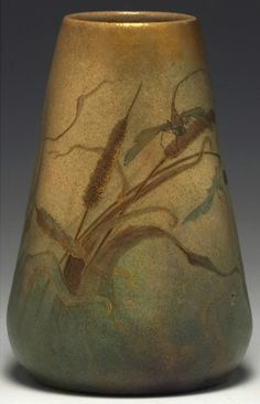 """Clement Massier vase, mottled gold to green matt glaze with a finely painted dragonfly and cattails with gold accents, signed, 5""""w x 7.5""""h"""
