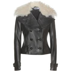 Altuzarra Fur-Trimmed Leather Jacket ($3,399) ❤ liked on Polyvore featuring outerwear, jackets, black, leather jackets, altuzarra, fur trimmed leather jacket, 100 leather jacket and genuine leather jackets