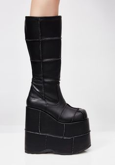 da6422cf7dd9 Demonia Matte PU Stacked Patched Platforms will have ya high af. These dope  matte boots
