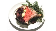 Rosemary-Crusted Prime Rib Roast: At The Beatrice Inn in NYC they use high-powered convection fans to give the roast a crisp crust. But you can get similar results without the fancy equipment by cranking up the heat just before the roast is done. Ribeye Roast, Slow Roast, Meat For A Crowd, Prime Rib Roast, Roasted Meat, Beef Recipes, Entree Recipes, Recipies, Bon Appetit