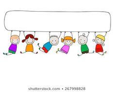 Creativos y Geniales Illustration of happy kids with banner vector art, clipart and stock vectors. Illustration of happy kids with banner v. Art Clipart, Vector Art, Vector Stock, Kids Vector, Music Illustration, Graduation Diy, Banner Vector, Stick Figures, Cartoon Kids