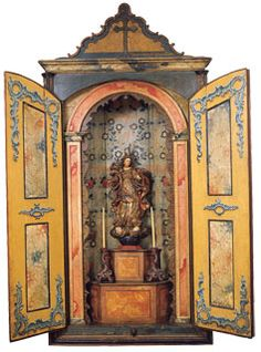 Shrine with doors Religious Images, Religious Icons, Religious Art, Madonna, Home Altar, Catholic Art, Arte Popular, Assemblage Art, Mexican Folk Art