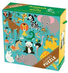 Een jumbo puzzel met 25 grote puzzelstukken, ideaal voor kleine kinderhandjes.  Amy Blay maakte deze prachtige illustratie van een bonte verzameling dieren van over de hele wereld.  De puzzel zit in een stevige kartonnen doos met een kleurrijk koord als handvat.  Geschikt voor kinderen vanaf 2 jaar.