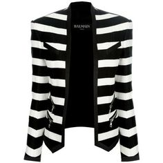 BALMAIN STRIPED CROPPED BLAZER