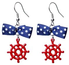 Blue & White Polka Dot Bow Ships Wheel Earrings from Sourpuss Clothing