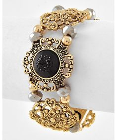 434711 Antique Gold Tone / Black Acrylic / Hematite Glass Crystal / Lead&nickel Compliant / Metal / Marcasite Look / Stretch