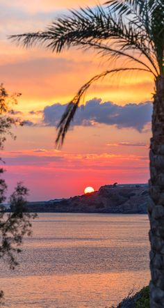Stunning sunset from South Crete. View from Villa South Crete in Makrigialos, Lasithi