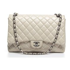 Pre-Owned Chanel Ivory Lambskin Maxi Single Flap Bag ($5,249) ❤ liked on Polyvore featuring bags, handbags, beige, ivory handbag, chanel handbags, lambskin handbag, brown purse and chain purse