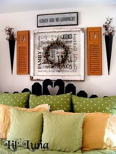 Think I could achieve this...subway art with vinyl letters on glass, and add wreath and shutters for decoration..