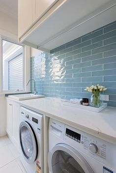 A small laundry room can be a challenge to keep laundry room cabinets functional, yet since this laundry room organization space is constantly in use, we have some inspiring design laundry room ideas. Laundry Room Tile, White Laundry Rooms, Modern Laundry Rooms, Farmhouse Laundry Room, Laundry Room Organization, Small Laundry, Basement Laundry, Laundry Area, Laundry Storage