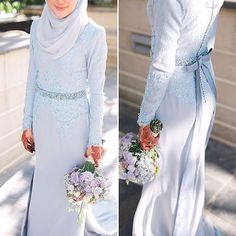 Faiz by Emma Wedding - 002 Muslimah Wedding Dress, Modest Wedding Gowns, Muslim Wedding Dresses, Blue Wedding Dresses, Bridesmaid Dresses, Hijab Bride, Bridesmaids, Malay Wedding Dress, Couple Wedding Dress