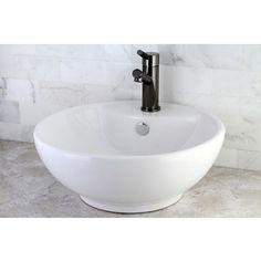 Round White Vitreous China Vessel Sink   Overstock.com Shopping - Great Deals on Bathroom Sinks