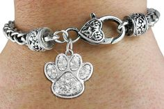 Paw Prints Silver Crystals Heart Bracelet HANDMADE IN THE USA!!