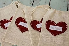 Sweet & reusable Valentine goody bags. You can buy the bags at Michaels & customize the labels.