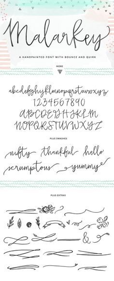 Meet Malarkey, the latest Angie Makes font. Malarkey is a hand brushed, modern c… Meet Malarkey, the latest Angie Makes font. Malarkey is a hand brushed, modern calligraphy font with tons of swashes + extras. Lettering Brush, Hand Lettering Fonts, Creative Lettering, Handwriting Fonts, Penmanship, Creative Market Fonts, Lettering Styles, Monogram Fonts, Monogram Letters