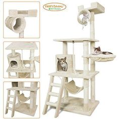 PET PALACE Cat Tree Kitten Activity Tower Condo with Hammock, Deluxe Scratching Posts, and Rope, Board material: Durable compressed wood Surface material: Plush faux fur and sisal rope Features three levels, each with a comfortable place for y Cool Cat Trees, Cool Cats, Cat Climber, Cat Activity, Cat Store, Cat Towers, Cat Shelves, How To Make Rope, Sisal Rope