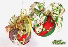 Bolas de Natal patchwork embutido