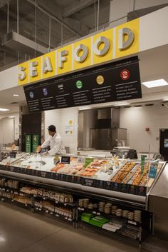A new store Thread Collaborative designed in Newark NJ. Opened on March 12 Seafood Store, Seafood Market, Store Signage, Retail Signage, Coffee Cafe Interior, Supermarket Design, Meat Shop, Fish And Chicken, Retail Interior
