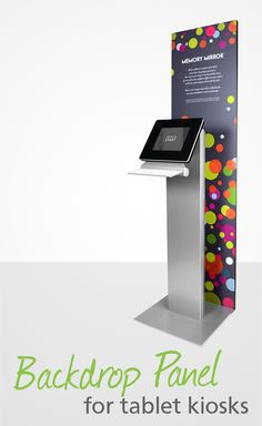 Guaranteed to capture your visitors' attention, our Backdrop Graphic Panel stands a full 6 feet tall behind your kiosk. Pop Display, Display Design, Booth Design, Digital Kiosk, Digital Signage, Exhibition Stand Design, Exhibition Display, Kiosk Design, Displays