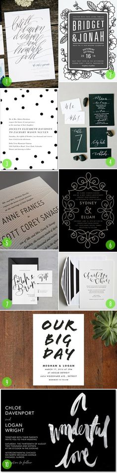 Top 10: Black and white invitations | 2