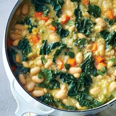 Vegetable & White Bean Stew | Health (reduce oil to 2 tsp; double onions, carrots, celery; reduce beans to 1 can; increase kale to 2.5 c; remove quinoa; 1/4=~215 cal ak)