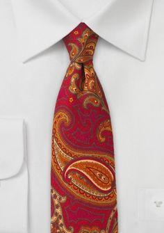 Paisleymotiv-Krawatte Wolle mittelrot