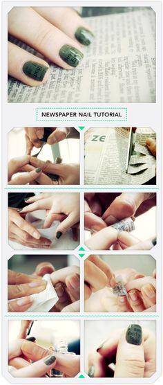 Newspaper Nail Tutorial #nailart