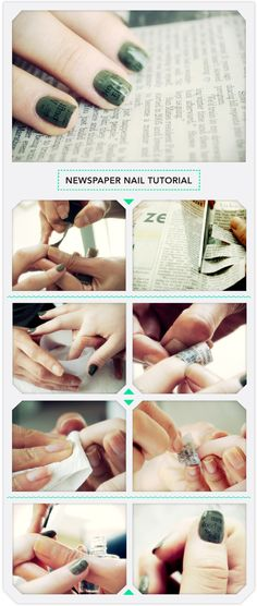 Newspaper Nail Art Tutorial-have done this and it looks amazing :)