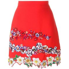 MSGM floral embroidery A-line skirt (€630) ❤ liked on Polyvore featuring skirts, msgm, red, msgm skirt, red knee length skirt, knee length a line skirt and a line skirt