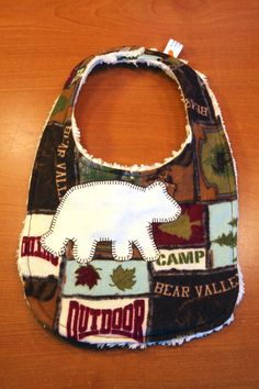 Baby Bib - Bear Valley Camper - Outdoor Wildlife Design - Gender Neutral - Flannel and Chenille on Etsy, $10.00