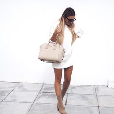 Jumper dress: Baziic Clothing   Shoes: Public Desire  (15% off with code: SARAH15)   Bag: Givenchy   Sunglasses: Noughts & Kisses