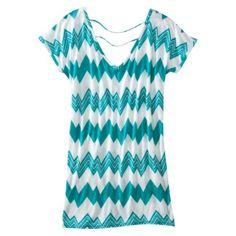 Xhilaration® Multicolored Stripe Tunic Swim Cover Up Dress - Turquoise.