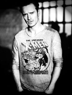 Is this really a photo of Michael Fassbender in an X-Men t-shirt? is it photoshopped? do I care?