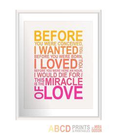 Nursery art print Miracle of love multicolor 11x14 by MiraDoson, $18.00