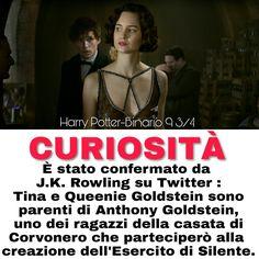 ⚡ CURIOSITÀ ⚡ È stato confermato da J.K. Rowling su Twitter : Tina e Queenie Goldstein sono parenti di Anthony Goldstein, uno dei ragazzi della casata di Corvonero che parteciperò alla creazione dell'Esercito di Silente. Crediti : E a te se sei rimasto con Harry fin proprio alla fine. ⚡ Hermione ⚡