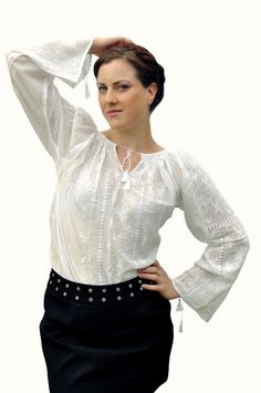Romanian traditional blouse with white silk embroidment on Etsy, $125.00