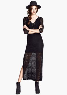 Black V Neck Long Sleeve Split Lace Dress - Fashion Clothing, Latest Street Fashion At Abaday.com