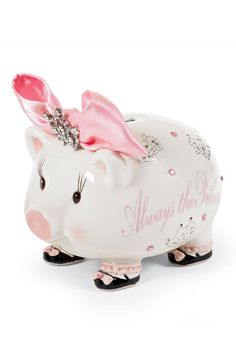 My go-to baby shower gift! Always a hit! Mud Pie 'Always the Princess' Jeweled Piggy Bank available at Nordstrom