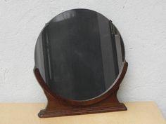 Round Free Standing Dresser Mirror in Wood Base