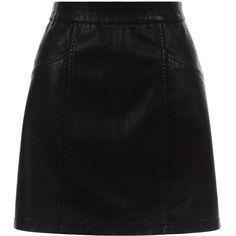 New Look Black Leather-Look Seam Trim Mini Skirt (1.590 RUB) ❤ liked on Polyvore featuring skirts, mini skirts, bottoms, black, mini skirt, cocktail skirt, summer mini skirts, summer skirts and evening skirts