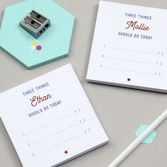Personalised Pair Of Three Things To Do Today Notepads