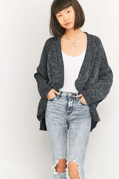 BDG Fluffy Black Dolman Cardigan