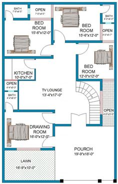 A house plan is a set of construction or working drawings (sometimes called blueprints) that define all the construction specifications of a 40x60 House Plans, Town House Plans, 2bhk House Plan, Bungalow Floor Plans, Free House Plans, Model House Plan, Simple House Plans, House Layout Plans, Duplex House Plans