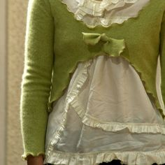 Cashmere Topper in Pistachio - Womens One of a Kind Upcycled Sweater Bust  Size 34""