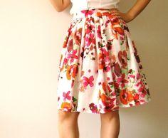 SALE Floral skirt summer skirt Vintage by Mokkafiveoclock - StyleSays