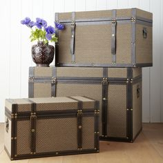 Fabric Covered Trunk - Small: Handsome vintage style fabric covered trunks - perfect for use as a coffee table, side table or simply good looking storage.  - Wood with textured brown fabric covering top, front and sides