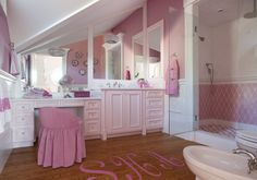 Girly pink bathroom with sloped ceiling over pink upper walls with lower walls clad in wainscoting alongside hardwood floors with pink monogram. Shower Alcove, 2 Bedroom House Plans, Pink Showers, Transitional House, Grey Kitchens, Traditional Bathroom, Robin, Sweet Home, Flooring