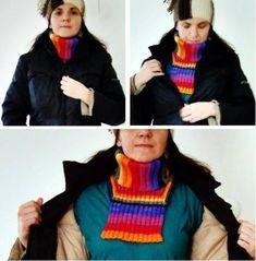 Sticka en fuskpolo eller en fuskolle, enkel beskrivning Cowl Scarf, Scarf Wrap, Knit Crochet, Diy And Crafts, Crochet Necklace, Knitting, Sewing, Cowls, Knits